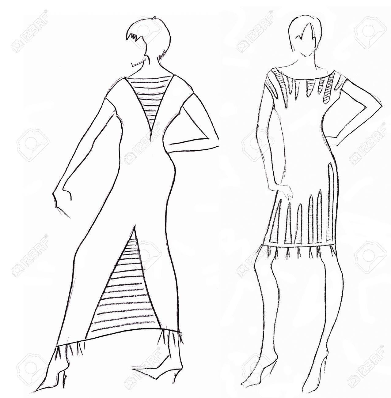 15bf89424 Boceto de modelo de moda - diseño del vestido por motivos egipcios Foto de  archivo -