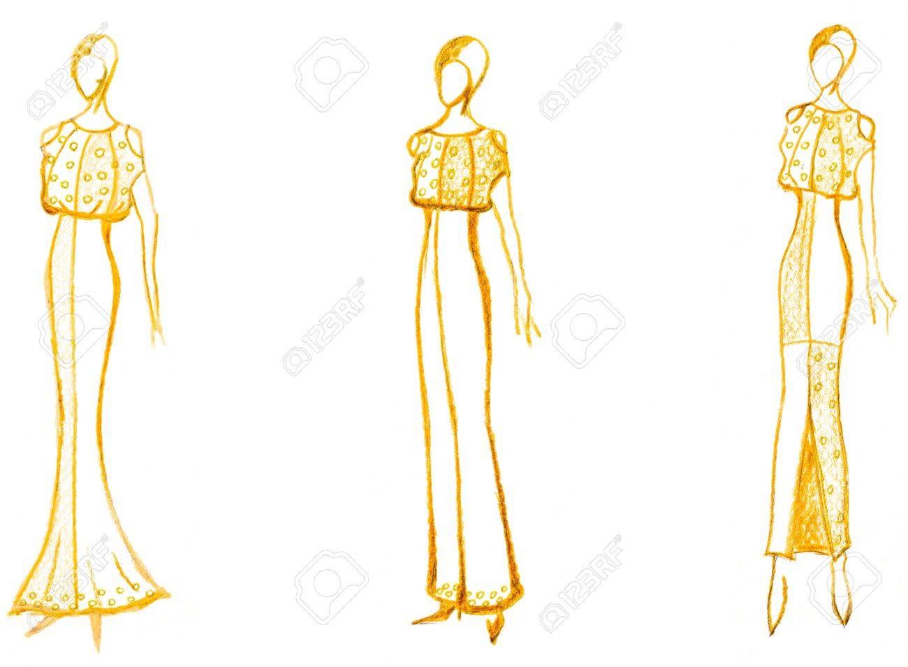 d79d33f08 Boceto de modelo de moda - el desarrollo de las señoras vestido de noche  Foto de