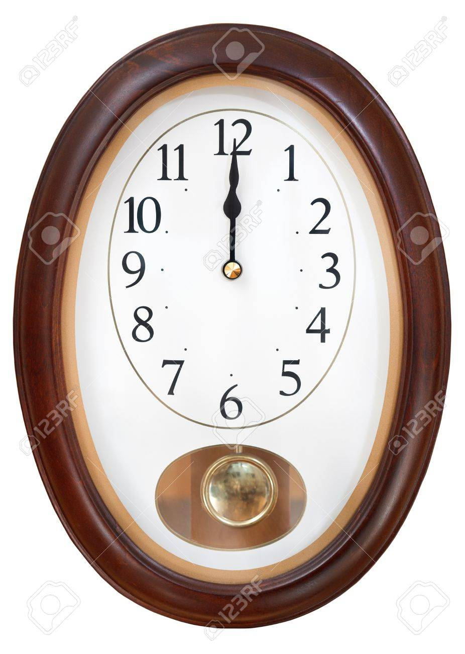 Stock photo twelve o clock midnight on oval wall clock