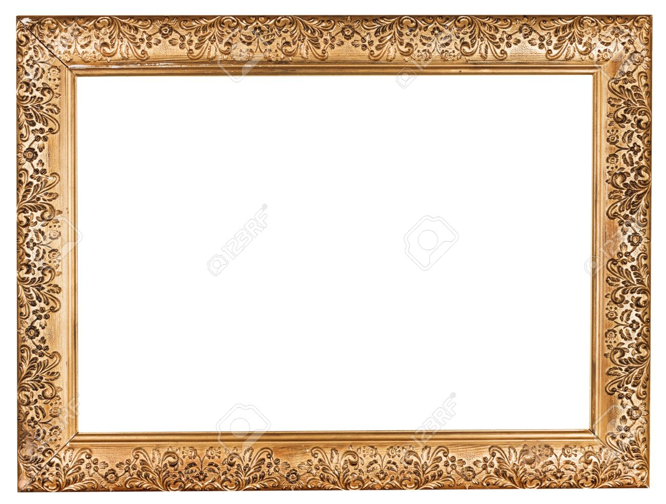 Ancient Baroque Wide Golden Picture Frame With Cutout Canvas.. Stock ...