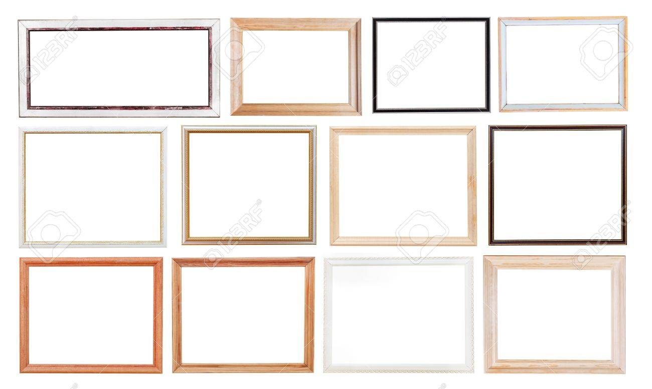 Set of old simple picture frames with cutout canvas isolated set of old simple picture frames with cutout canvas isolated on white background stock photo jeuxipadfo Images