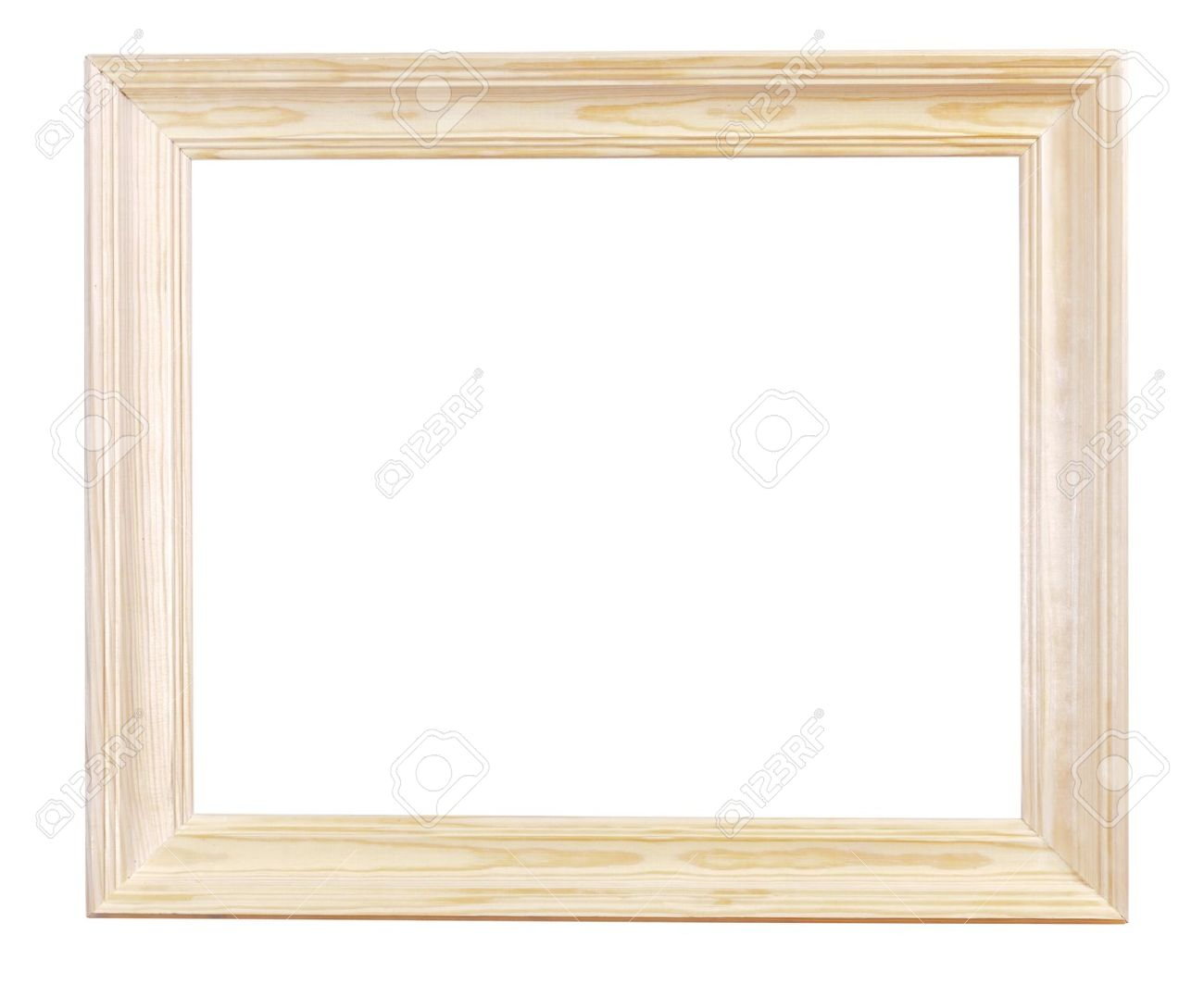 Wide Light Wood Picture Frame With Cutout Canvas Isolated On.. Stock ...