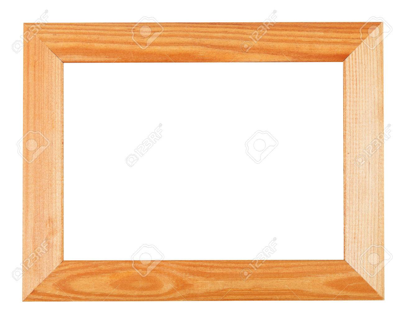 Wide Simple Wooden Picture Frame Isolated On White Background Stock ...