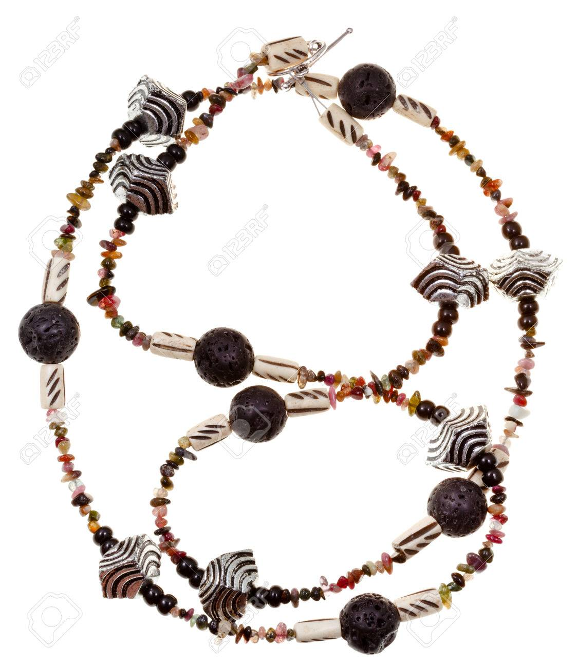 Top View Of Necklace From Beads Of Black Rock Lava Carved Bone Stock Photo Picture And Royalty Free Image Image 22302787