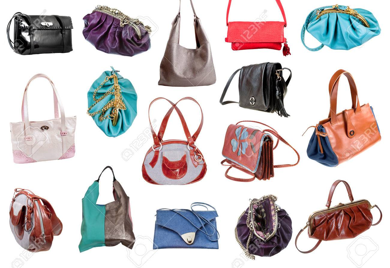 ef0fc16b03 collection of ladies bags isolated on white background Stock Photo -  24662042