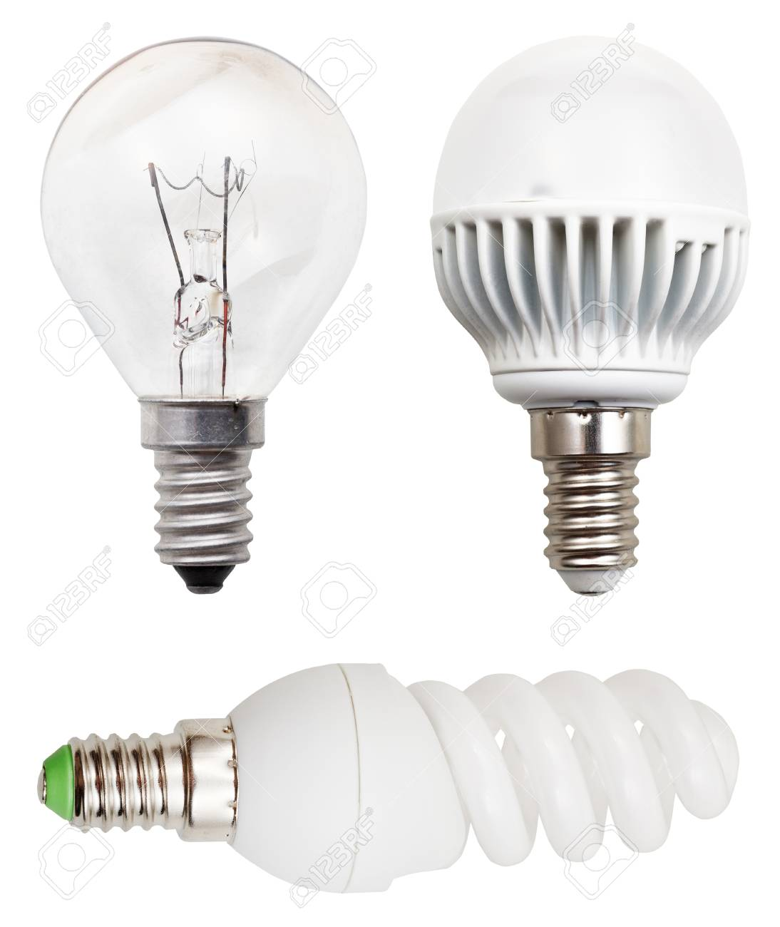 Isolé Fond Led IncandescenceFluorescentes Sur HélicoïdaleAmpoules Blanc On0wk8PX