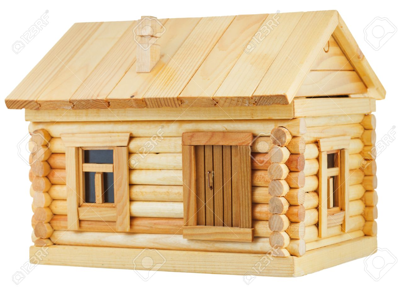 Stock photo model of simple village wooden log house isolated on white background