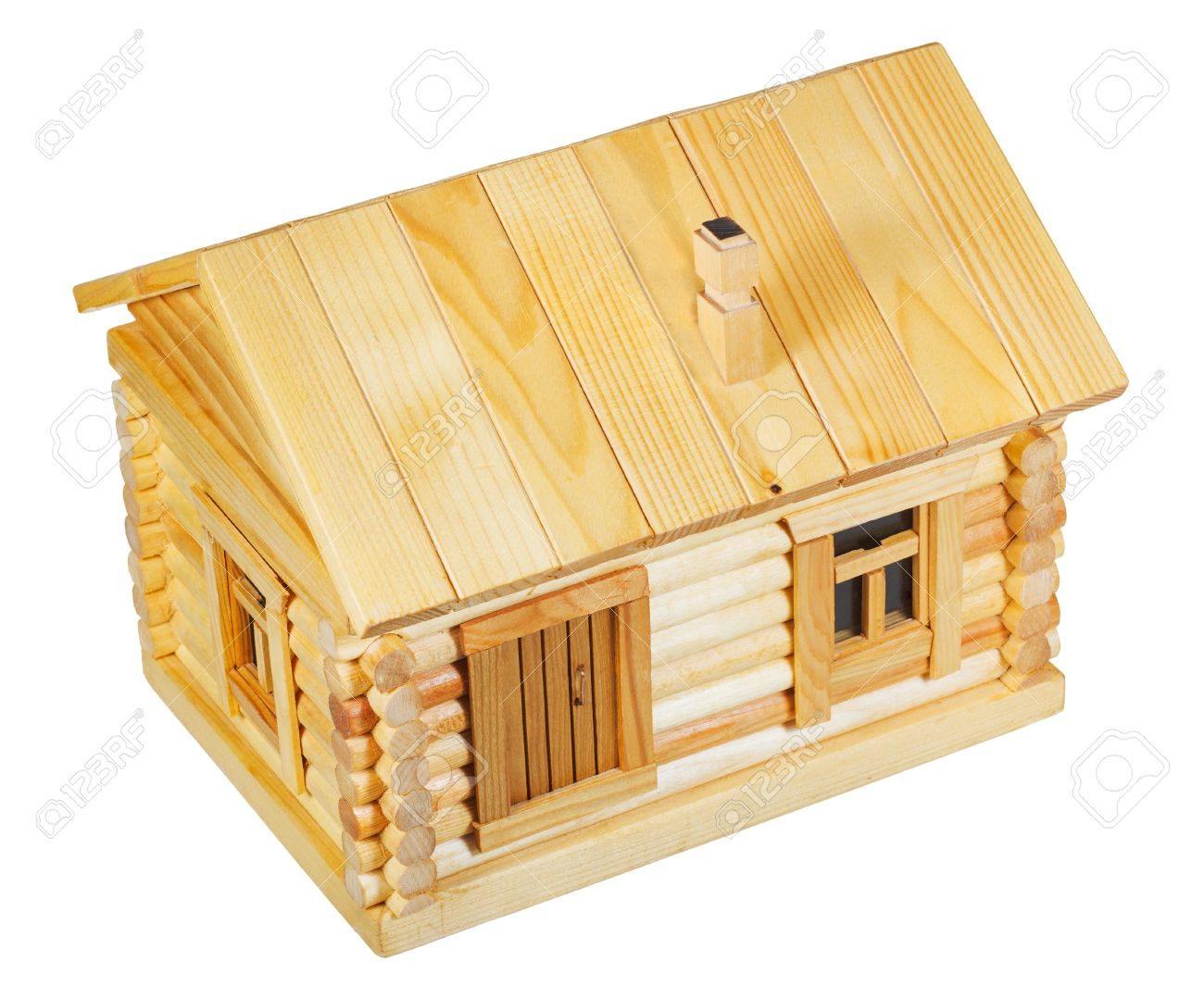 Stock photo above view of model of simple village wooden log house isolated on white background