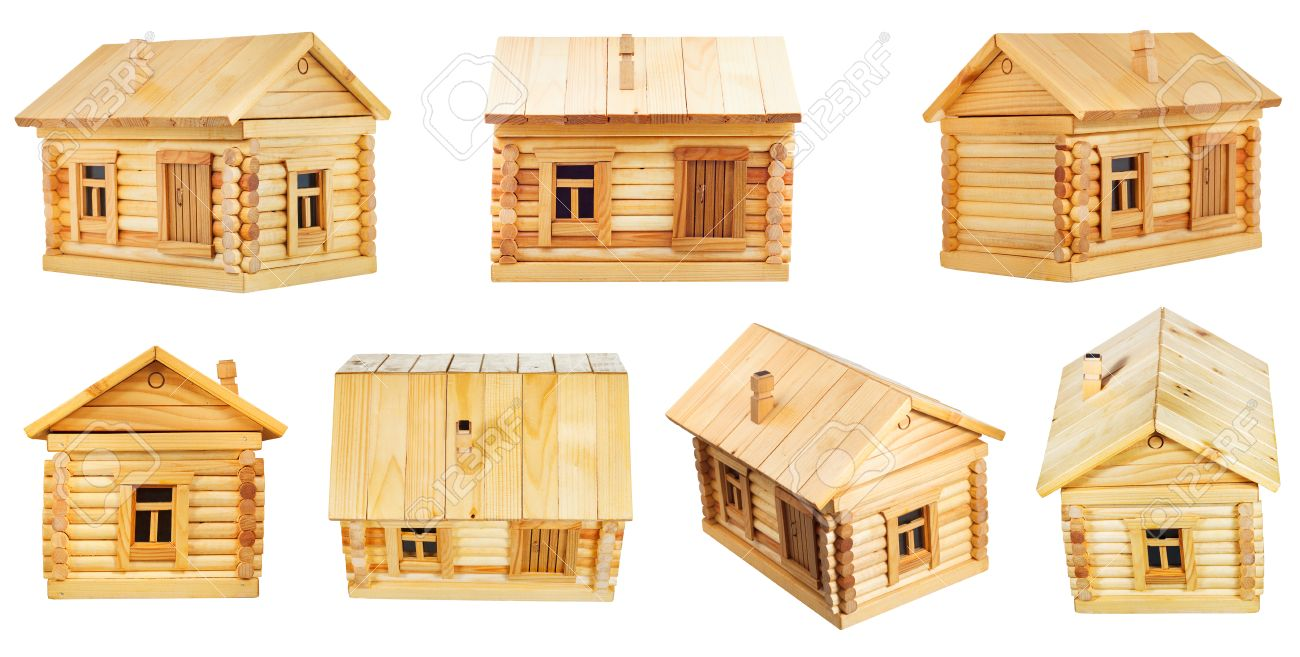 Views Of Simple Village Wooden Log House Isolated On White