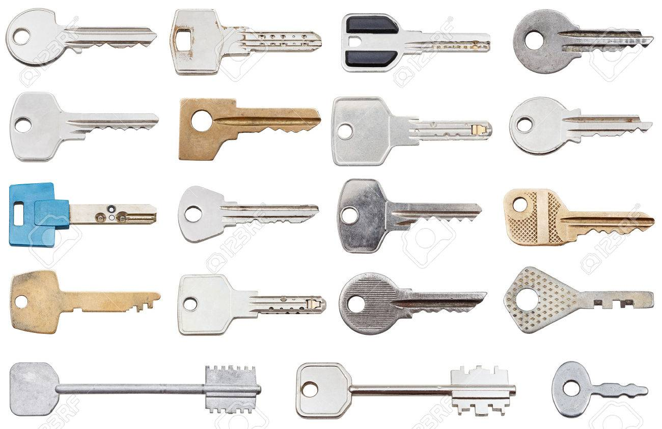 collection of different house keys isolated on white background - 26153011