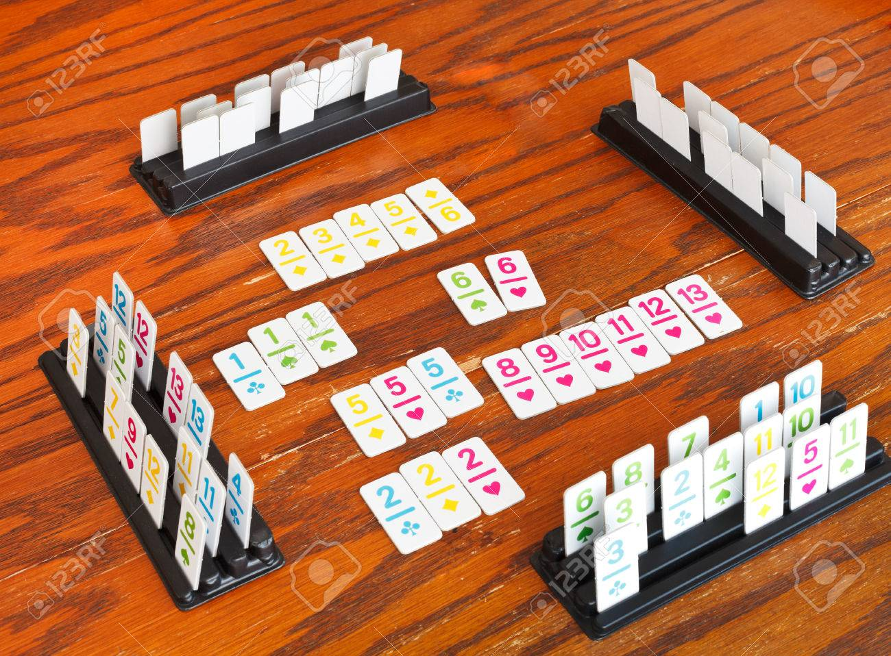 Charmant Playing Field Of Rummy Card Game On Wooden Table Stock Photo   26914093
