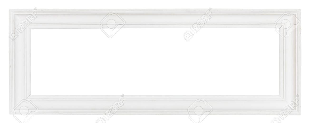 Amplia Panorámica Blanco Marco De Madera Con Cortar La Lona Aislados ...