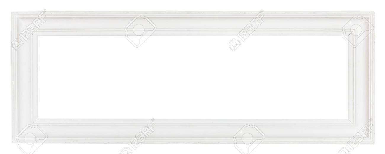 stock photo wide white panoramic wooden picture frame with cut out canvas isolated on white background