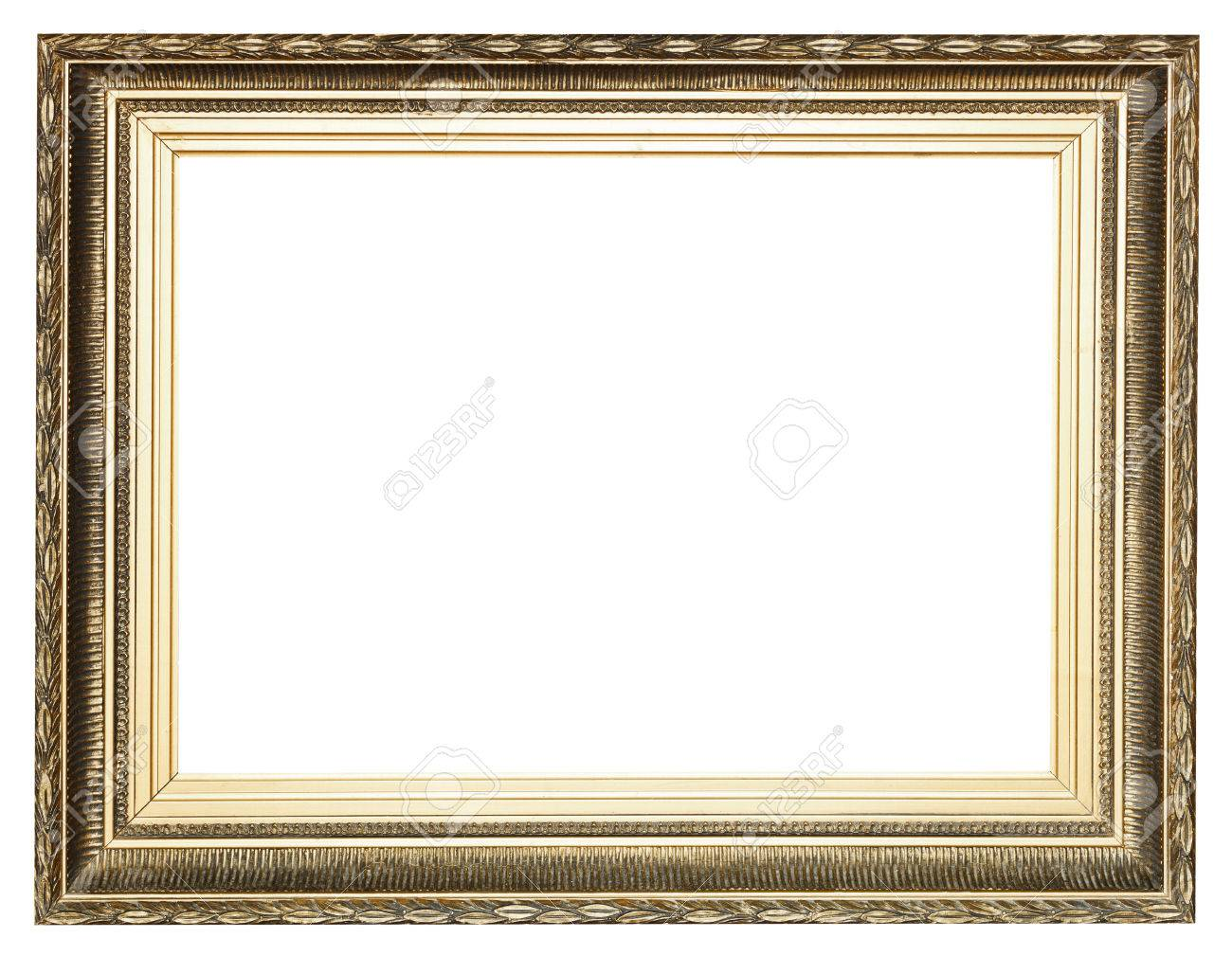 Big Wide Golden Ancient Wooden Picture Frame With Cut Out Canvas ...