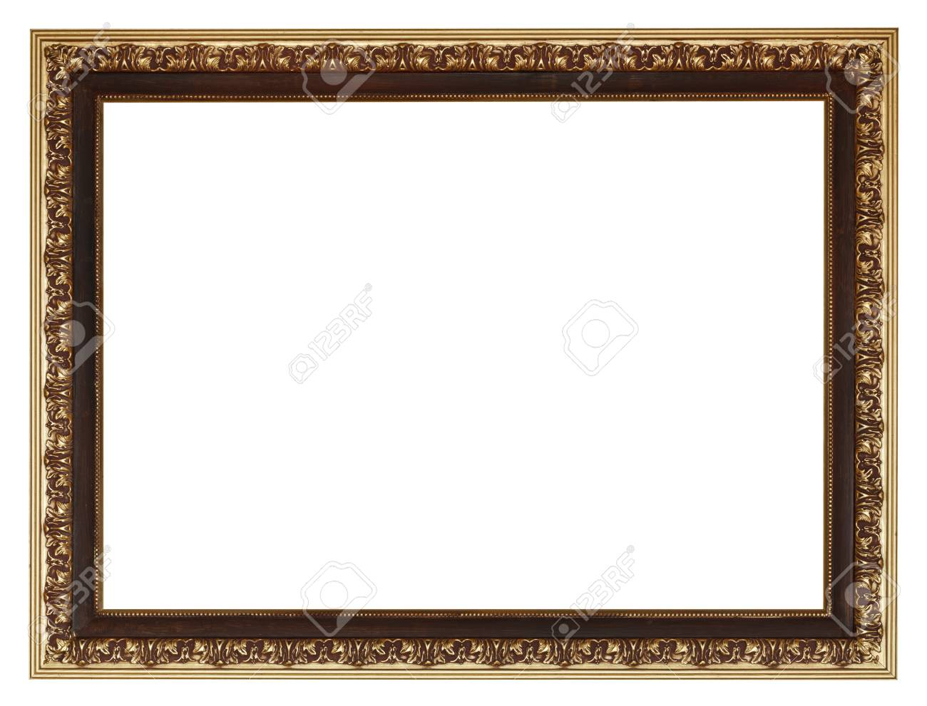Wide Golden Gilted Vintage Wooden Picture Frame With Cut Out.. Stock ...