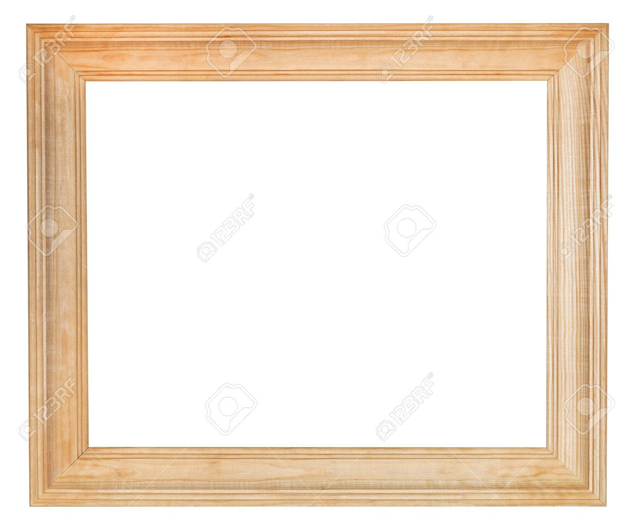 Wide Simple Wooden Picture Frame With Cut Out Canvas Isolated ...