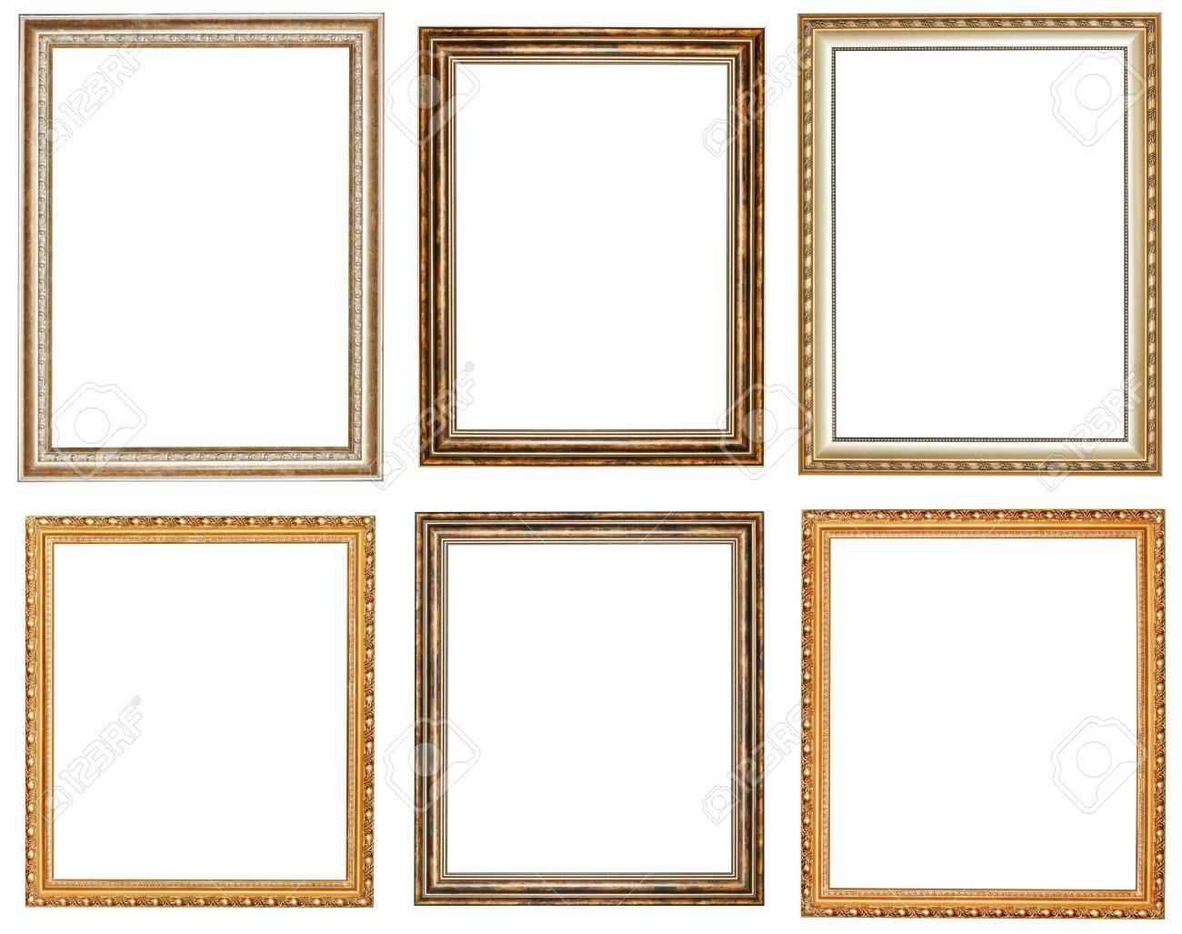 Set Of Vintage Wooden Picture Frames With Cut Out Canvas Isolated ...