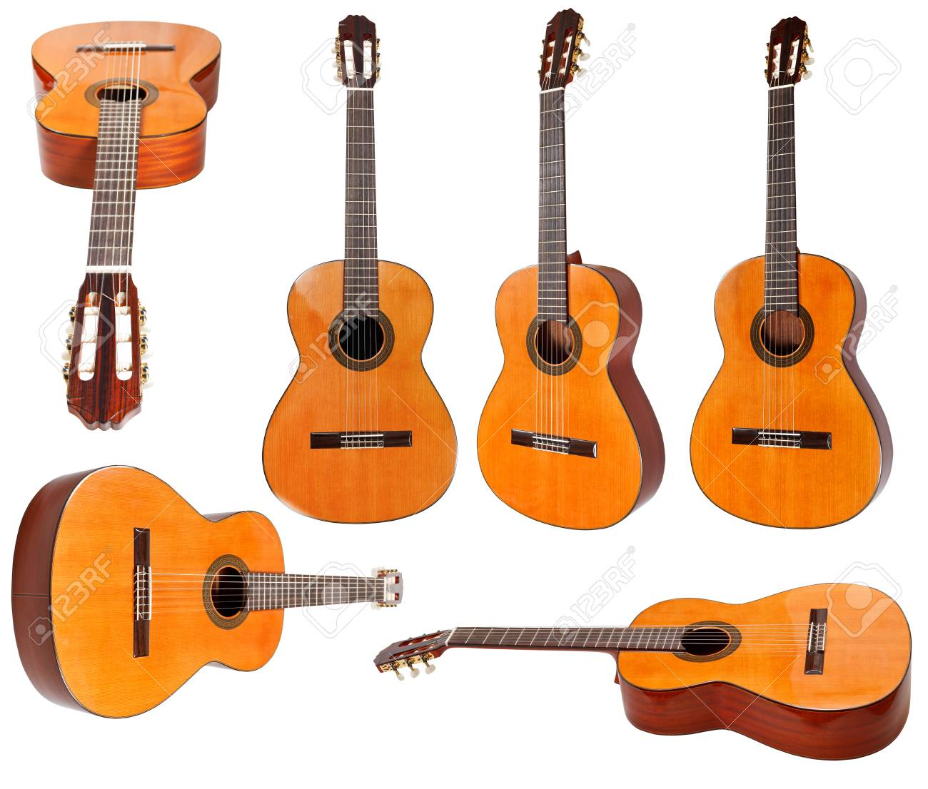 set of classical acoustic guitars isolated on white background - 28352424