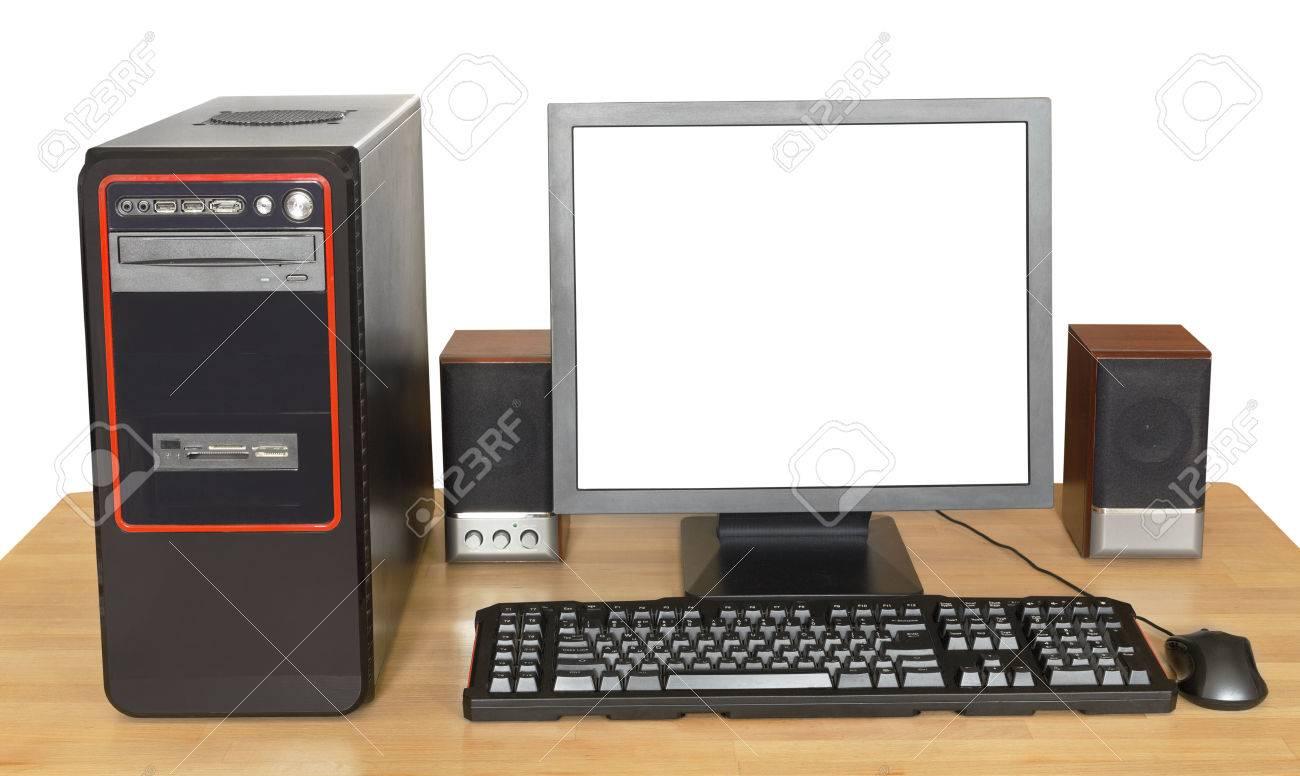 Ordinateur de bureau noir affichage avec un écran de découpe