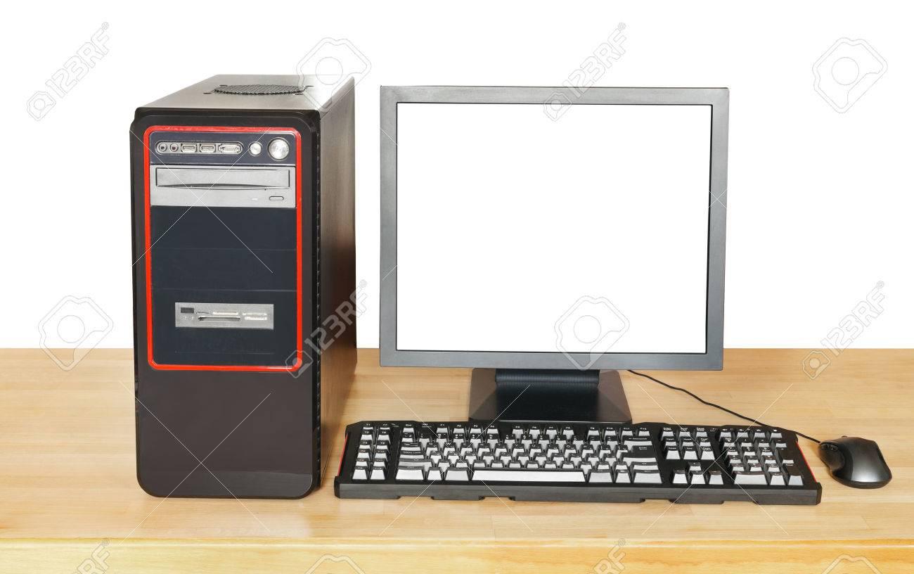Ordinateur de bureau noir affichage avec découpe écran le clavier