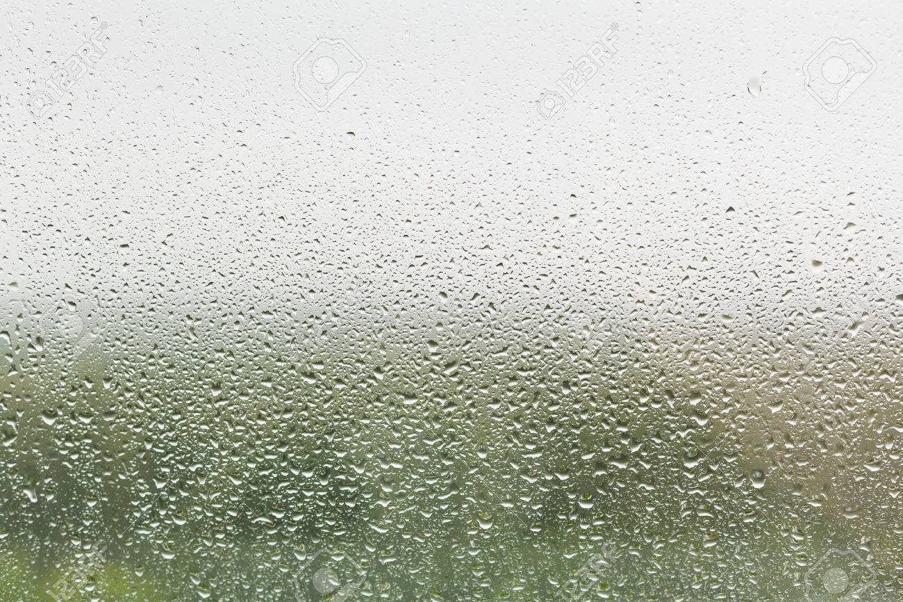 raindrops on home window glass with green forest and grey sky background - 28802026
