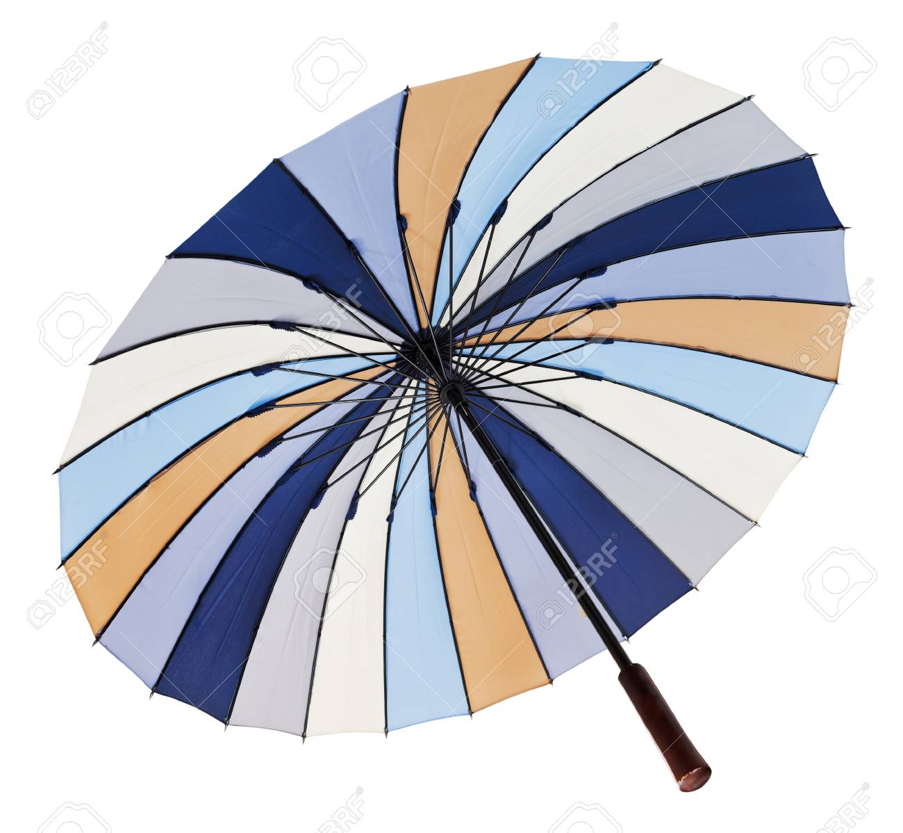 Stock P O View From Below Of Opened Multicolored Umbrella Isolated On White Background