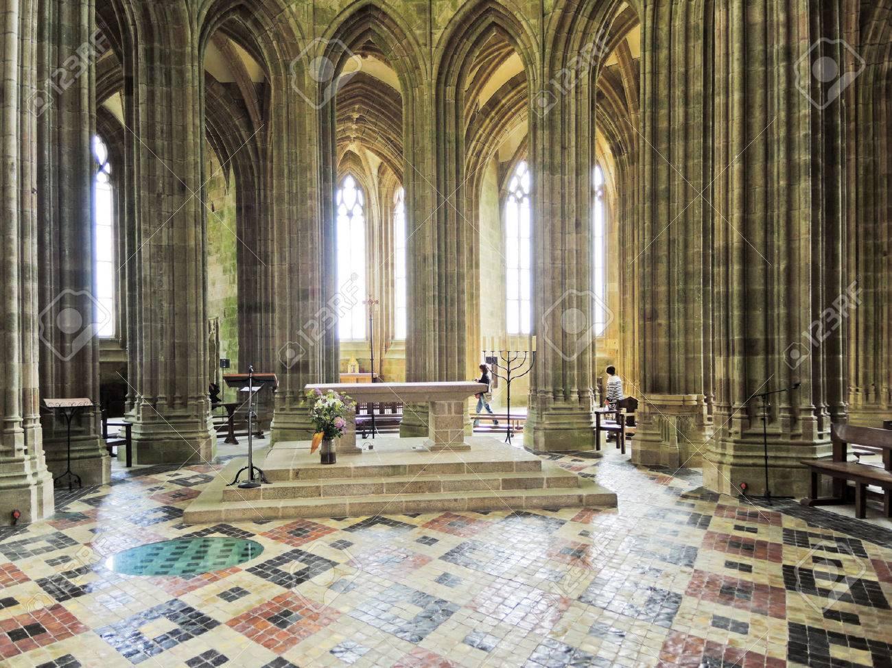Mont Saint Michel France August 9 2014 Interior Of Church Abbey