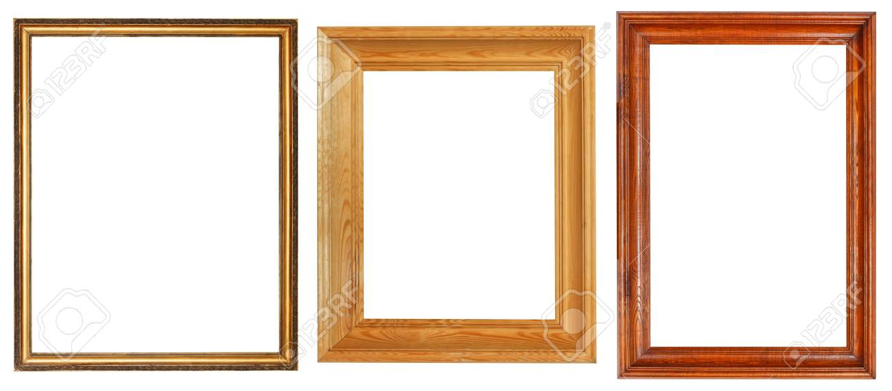 Three Wooden Picture Frames With Cut Out Canvas Isolated On White ...