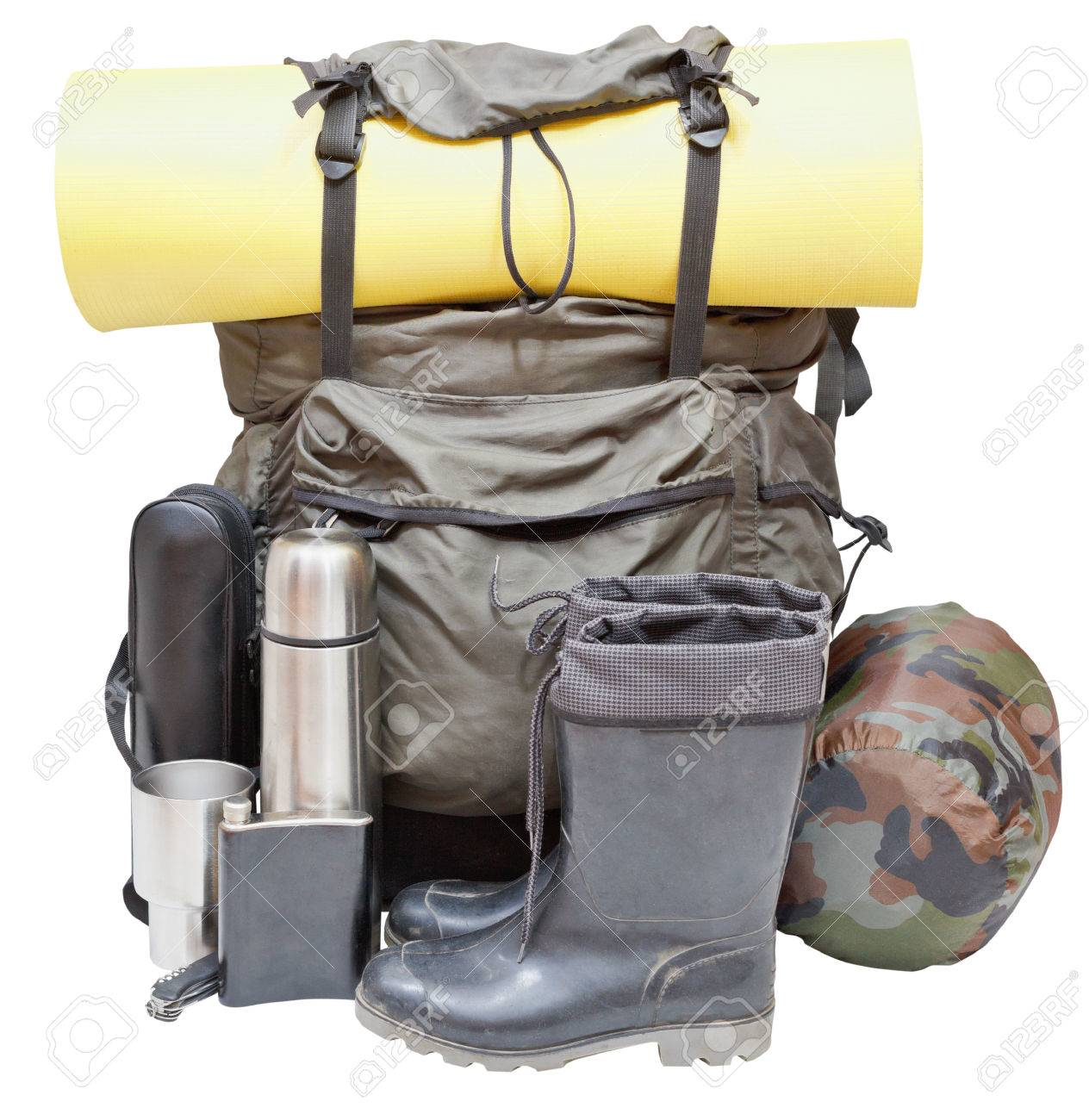 Set Of Camping Equipment With Backpack Rolled Sleeping Pad Boots Thermos Knife