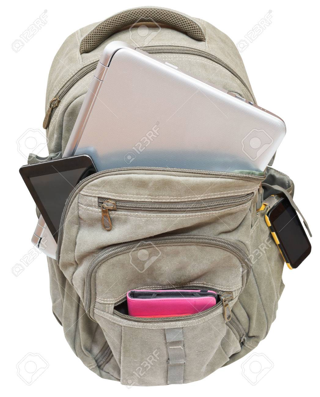 tourist backpack with mobile devices isolated on white background Stock  Photo - 34337713 2ab30030b676f