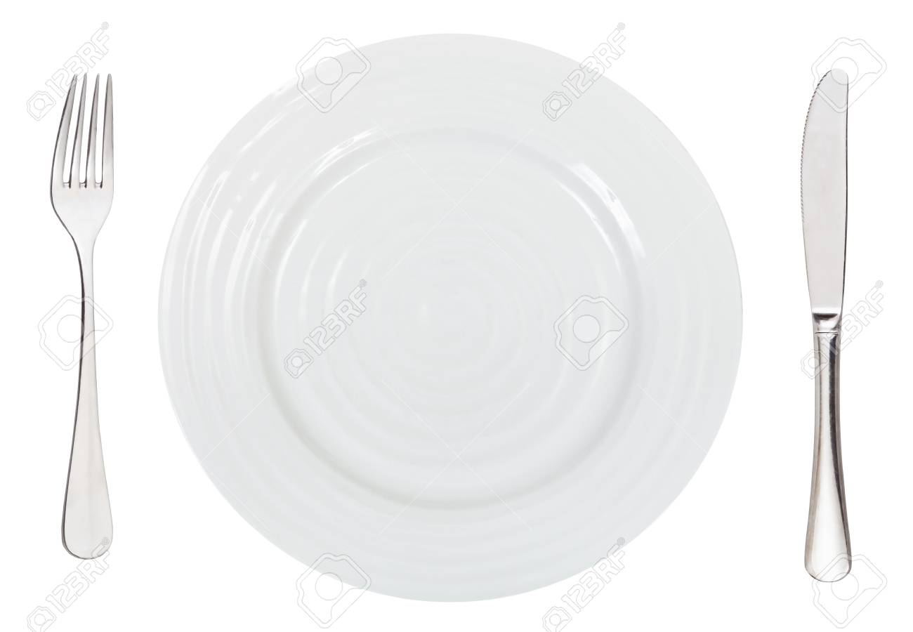 Top View Of Empty White Dinner Plate With Fork And Knife Isolated Stock Photo Picture And Royalty Free Image Image 35681846