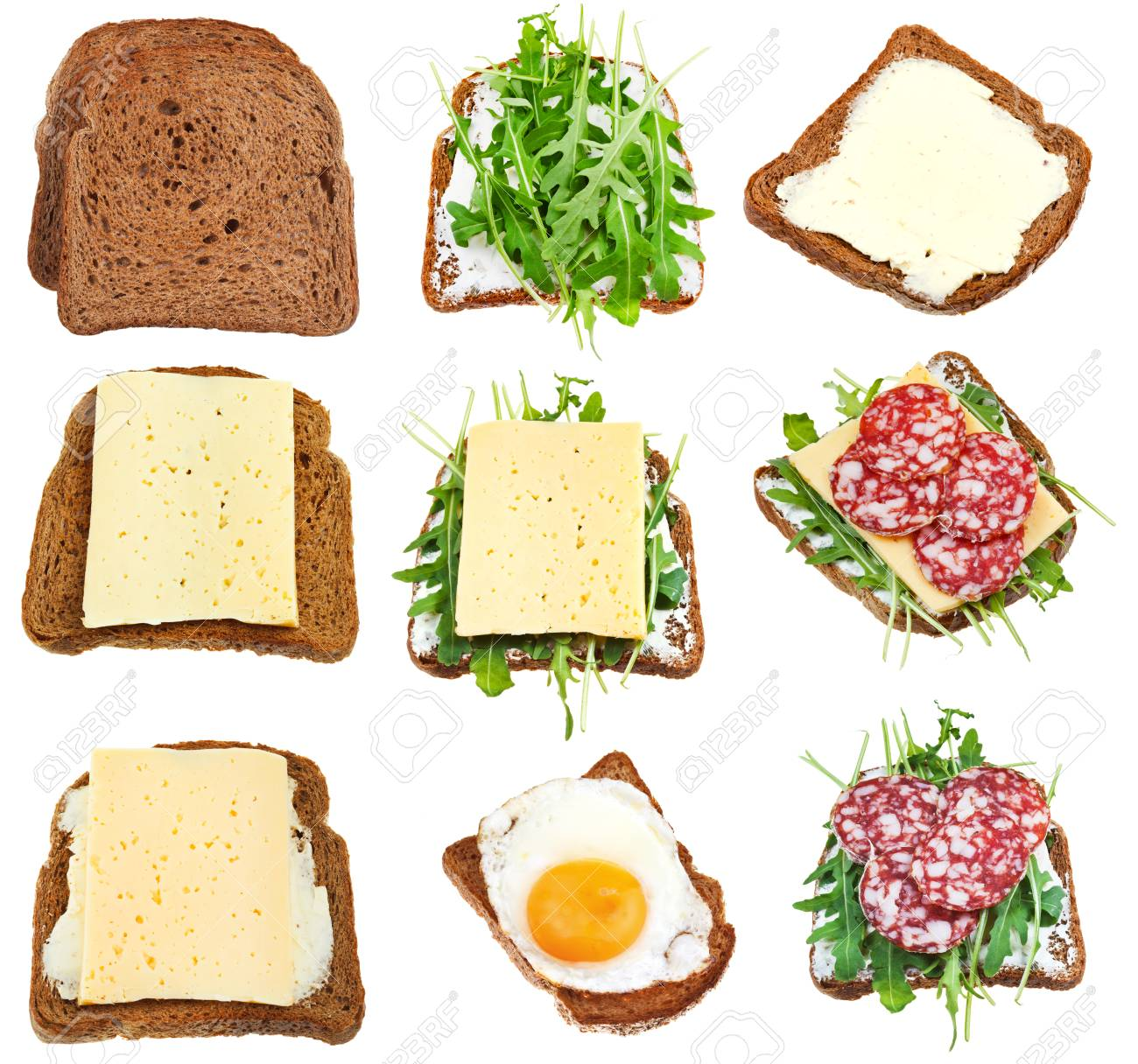 set of sandwiches from toasted brown bread isolated on white background - 37882100