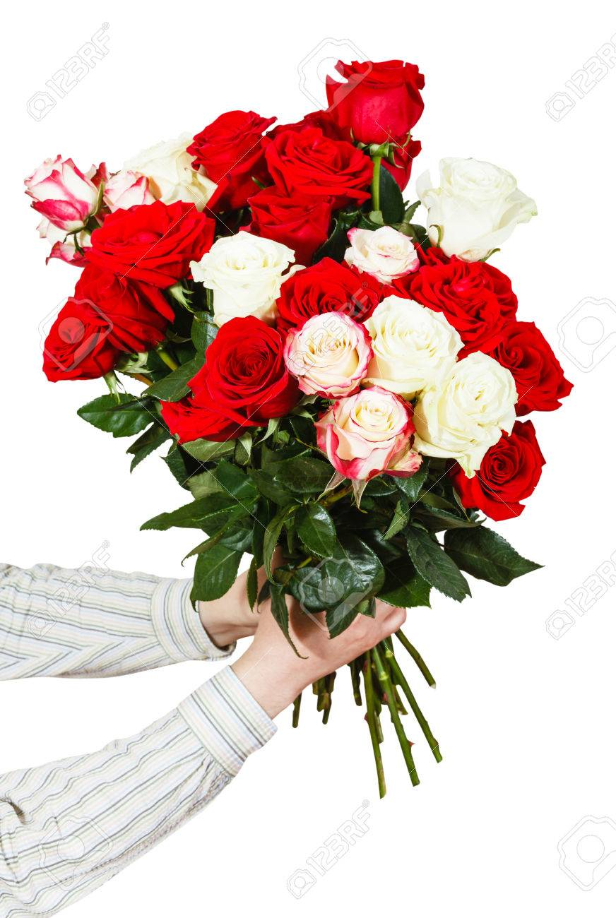 Two Hands Giving Bouquet Of Many Roses Isolated On White Background ...
