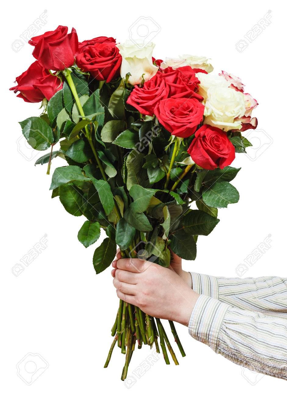 Two Hands Giving Bouquet Of Various Roses Isolated On White ...