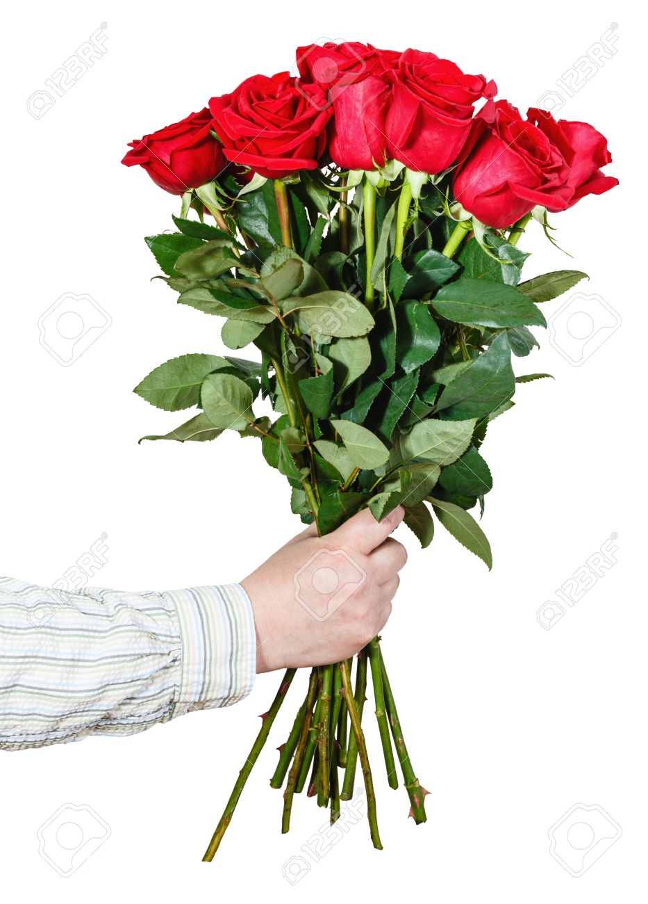 Male Hand Giving Bouquet Of Many Red Roses Isolated On White.. Stock ...