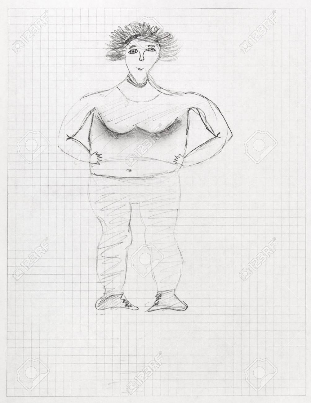 Los Niños De Dibujo Retrato De Mujer Grande Con Lápiz Negro En La Hoja De Cuaderno Escolar Cuadriculado