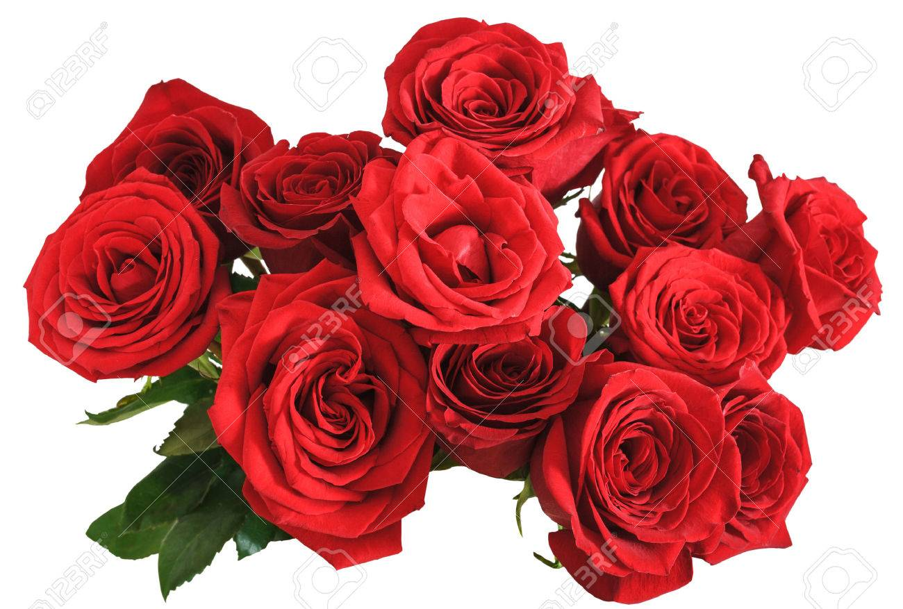 above view of bouquet of red roses isolated on white background - 40587695