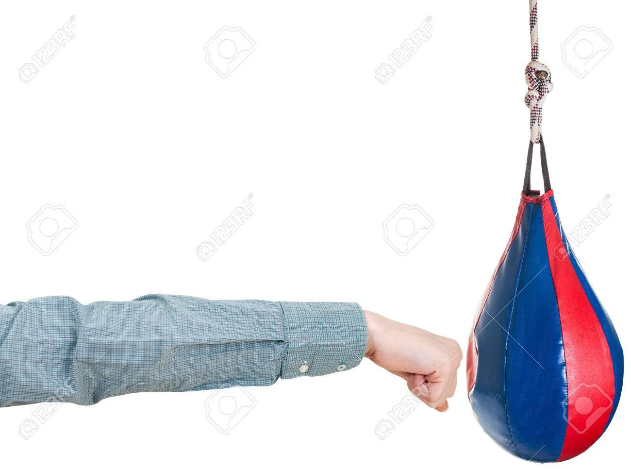 Handgeste Buroangestellte Schlage Boxsack Isoliert Auf Weissem