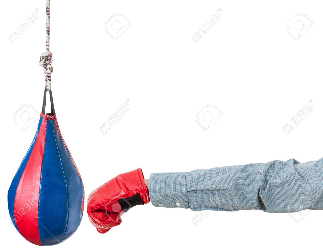 Hand Gesture   Office Worker With Boxing Glove Punches Punching Bag  Isolated On White Background Stock