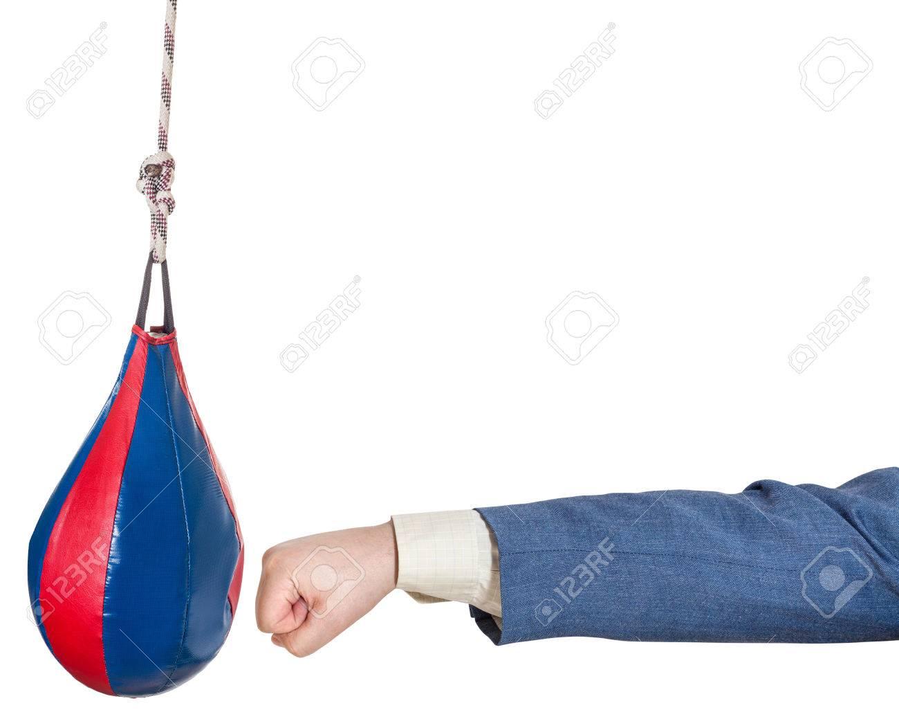 Hand Geste Ein Mann Im Buro Anzug Stanzen Boxsack Isoliert Auf