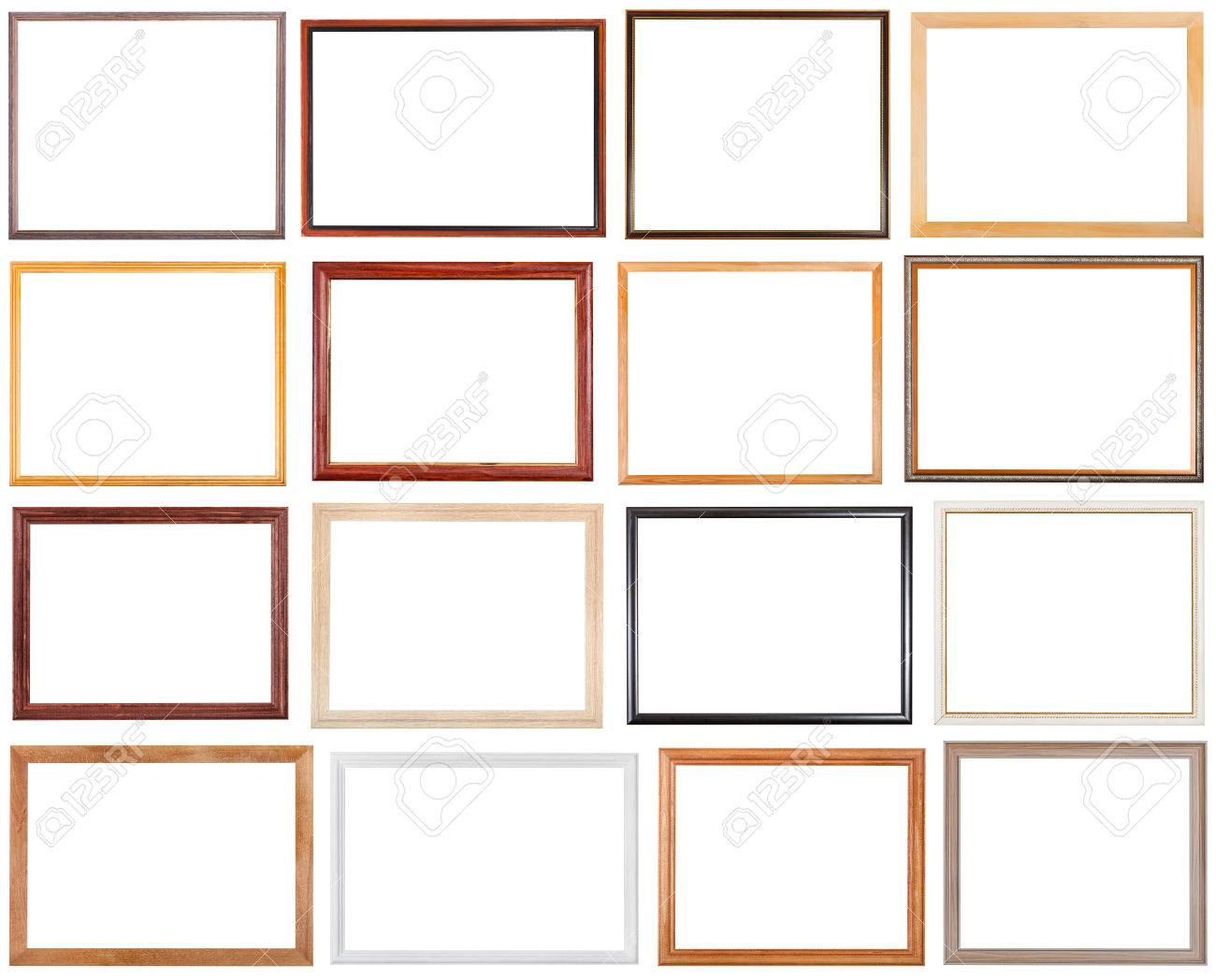 set of 16 pcs narrow wooden picture frames with cut out blank space isolated on white background - 42698804