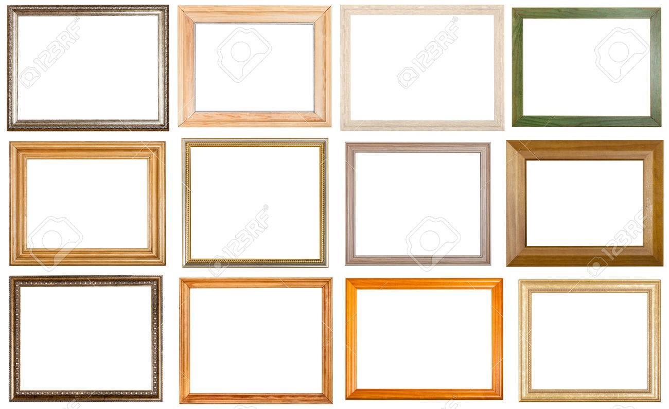 set of 12 pcs various wooden picture frames with cut out blank space isolated on white background - 42698772