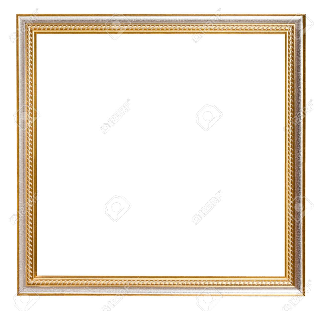 square golden carved wooden picture frame with cut out blank space isolated on white background - 43074444
