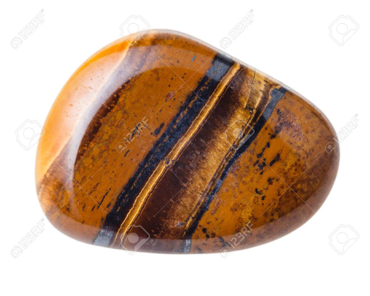 natural mineral gem stone - Tiger's eye (Tigers eye, Tiger eye) gemstone isolated on white background close up - 50790263