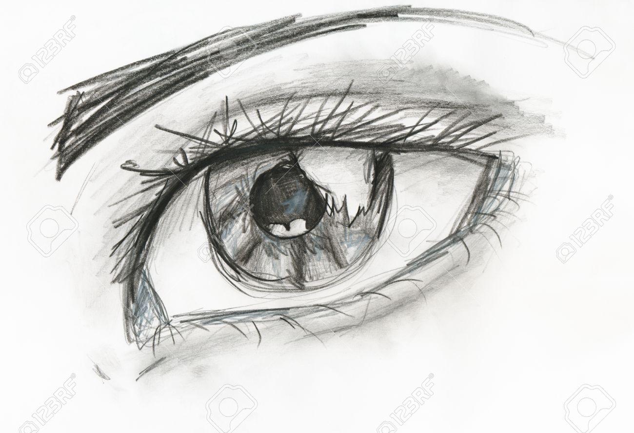 Hijo De Dibujo Imagen En Blanco Y Negro Del Ojo Humano De Cerca De