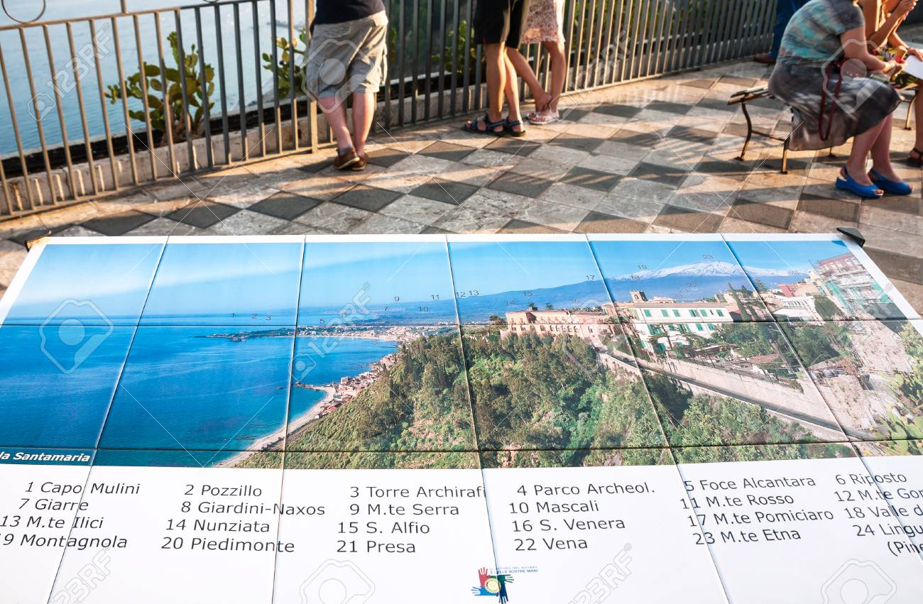 Taormina Italy July 2 2011 City Map On Viewpoint In Piazza