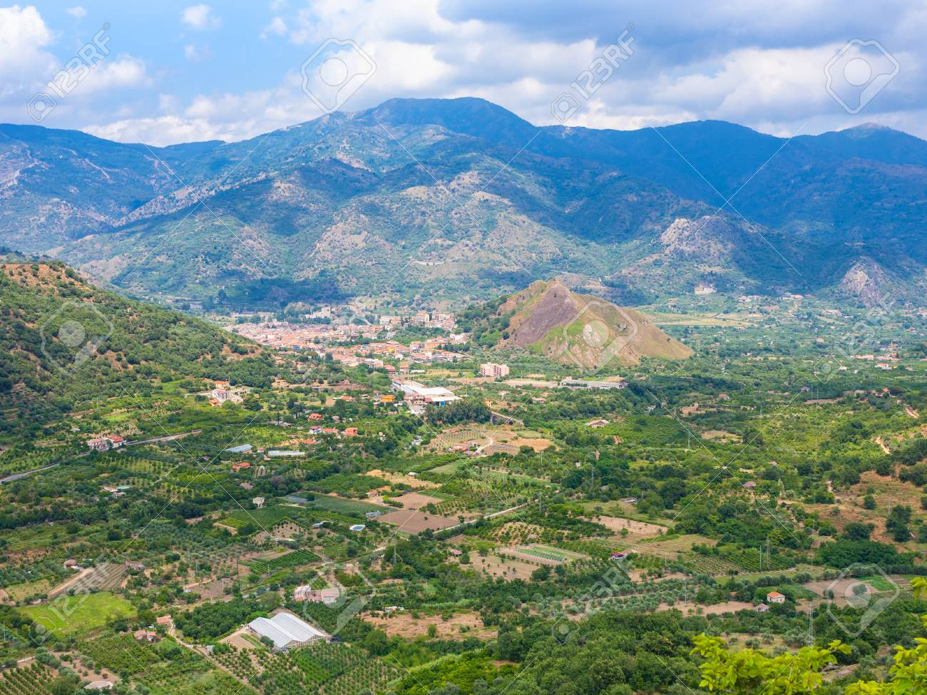 Italy Above View Of Rural Gardens And Francavilla Di Sicilia Stock Photo Picture And Royalty Free Image Image 74224532