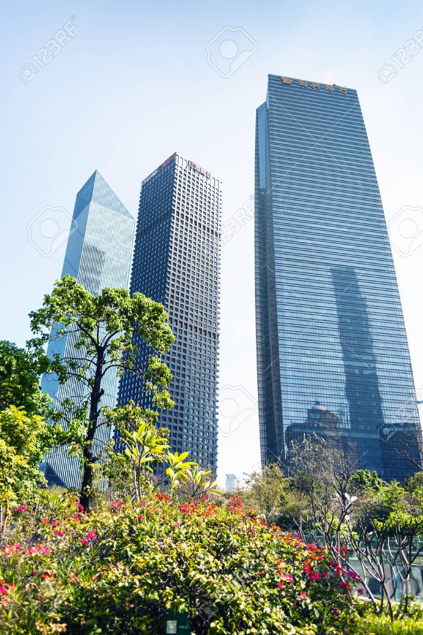 guangzhou china april 1 2017 modern buildings near park stock