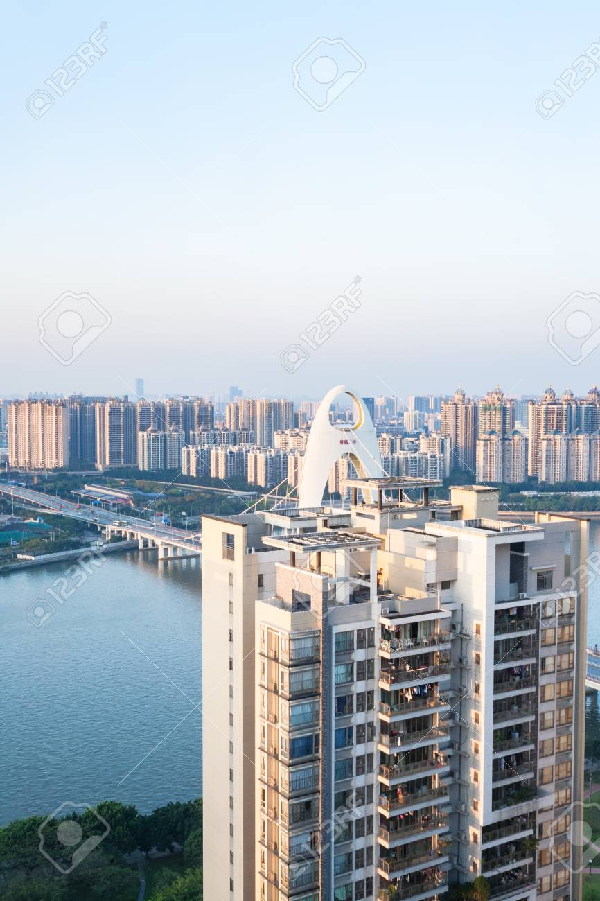 GUANGZHOU, CHINA - APRIL 1, 2017: above view of apartment house