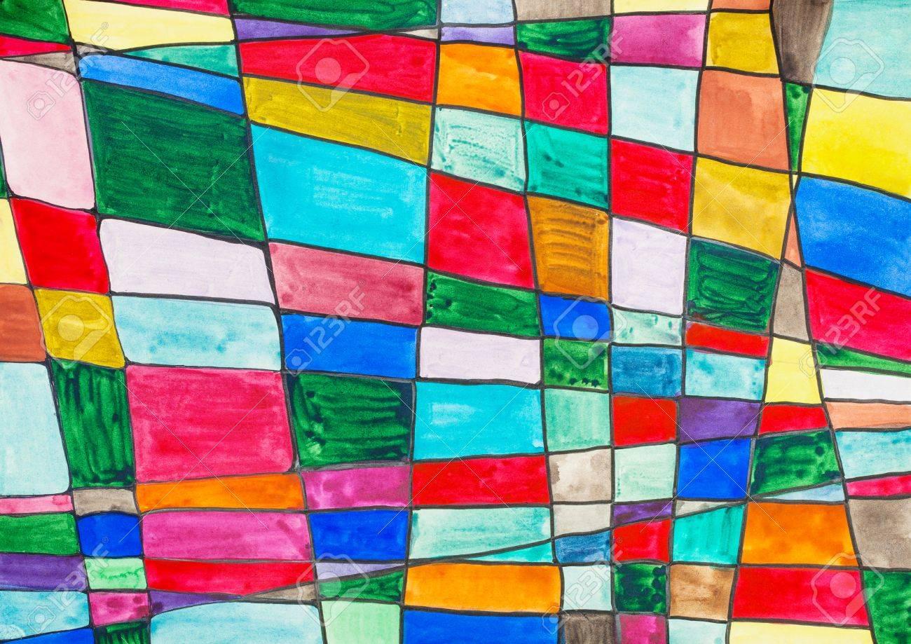 Dessin à Carreaux Multicolores Abstrait Peints à La Main Dessinés Par Des Aquarelles Sur Papier